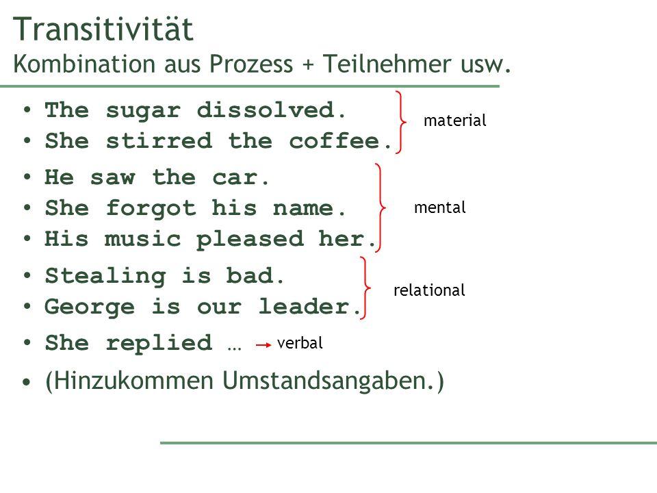 Transitivität Kombination aus Prozess + Teilnehmer usw.