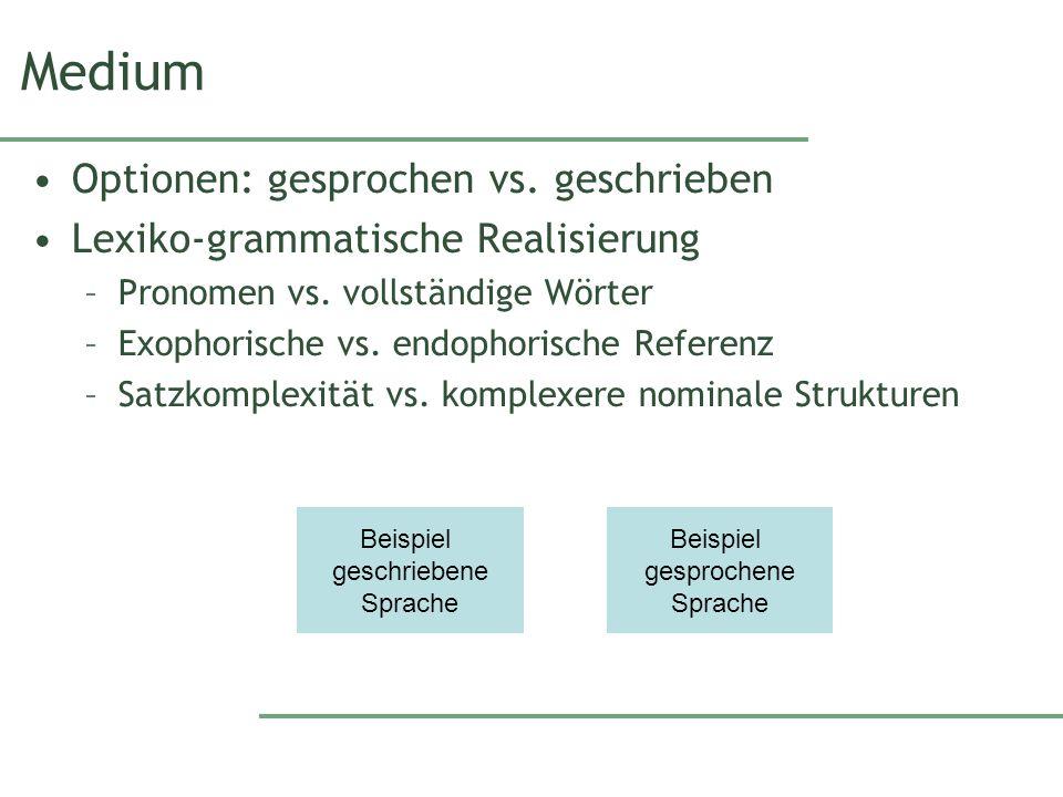 Medium Optionen: gesprochen vs. geschrieben Lexiko-grammatische Realisierung –Pronomen vs.