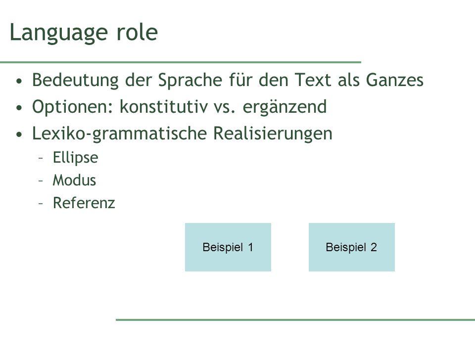 Language role Bedeutung der Sprache für den Text als Ganzes Optionen: konstitutiv vs.