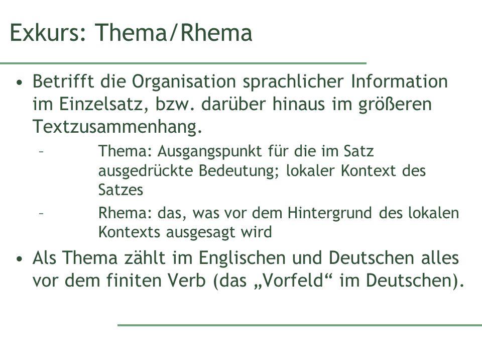 Exkurs: Thema/Rhema Betrifft die Organisation sprachlicher Information im Einzelsatz, bzw.