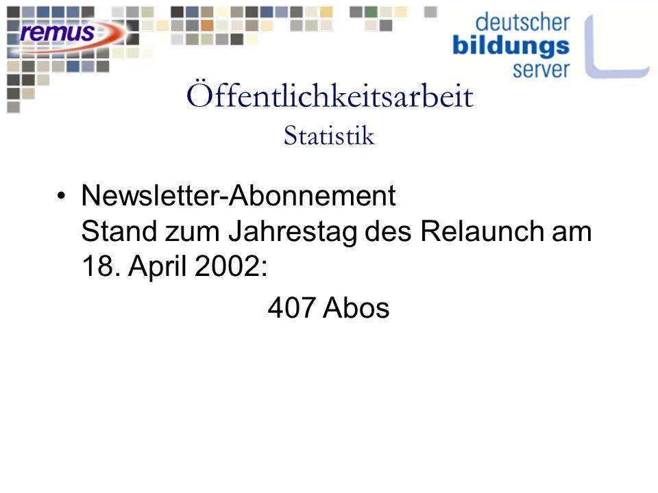 Öffentlichkeitsarbeit Statistik Newsletter-Abonnement Stand zum Jahrestag des Relaunch am 18. April 2002: 407 Abos
