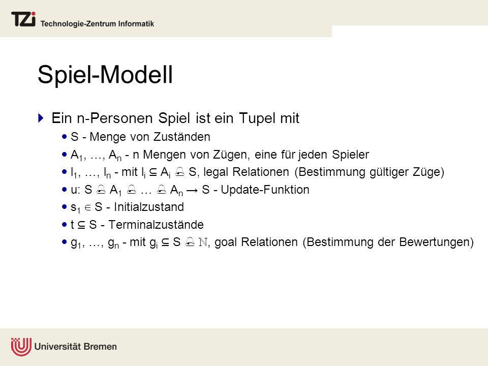 Spiel-Modell Ein n-Personen Spiel ist ein Tupel mit S - Menge von Zuständen A 1, …, A n - n Mengen von Zügen, eine für jeden Spieler l 1, …, l n - mit