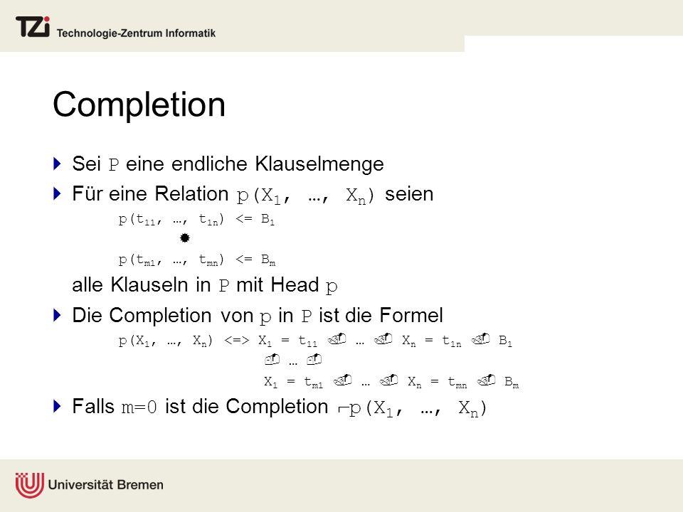 Completion Sei P eine endliche Klauselmenge Für eine Relation p(X 1, …, X n ) seien p(t 11, …, t 1n ) <= B 1 p(t m1, …, t mn ) <= B m alle Klauseln in