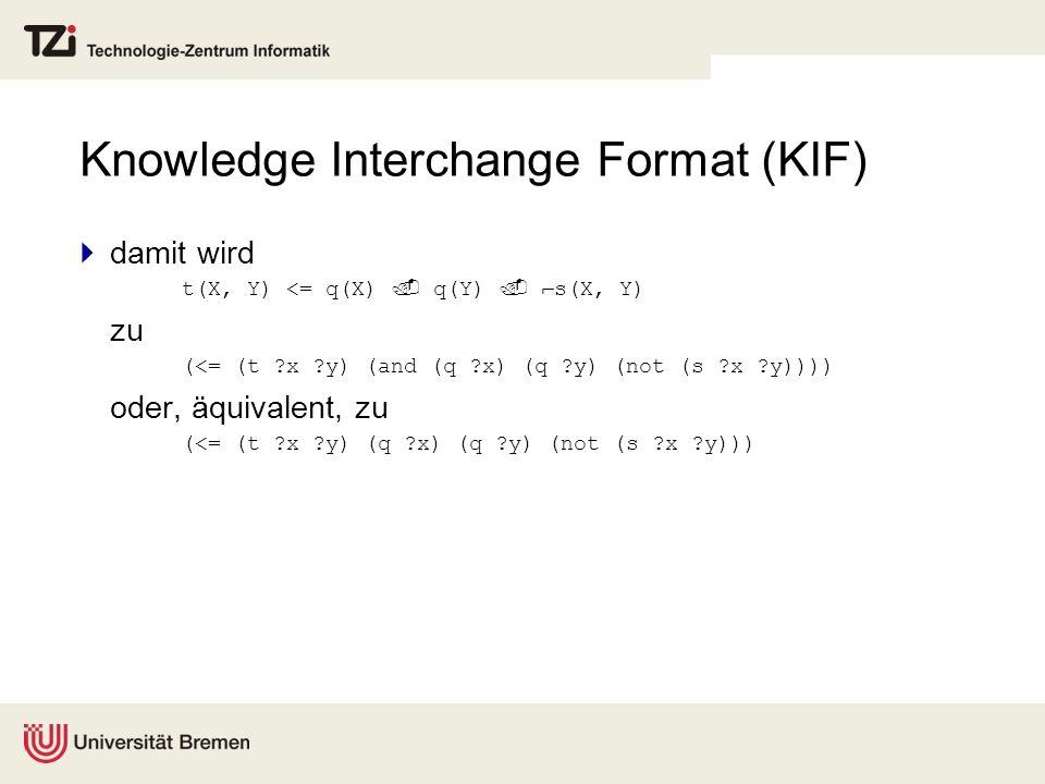 Knowledge Interchange Format (KIF) damit wird t(X, Y) <= q(X) q(Y) s(X, Y) zu (<= (t ?x ?y) (and (q ?x) (q ?y) (not (s ?x ?y)))) oder, äquivalent, zu