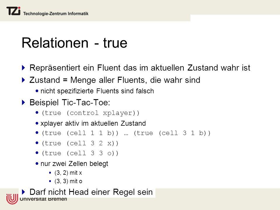 Relationen - true Repräsentiert ein Fluent das im aktuellen Zustand wahr ist Zustand = Menge aller Fluents, die wahr sind nicht spezifizierte Fluents