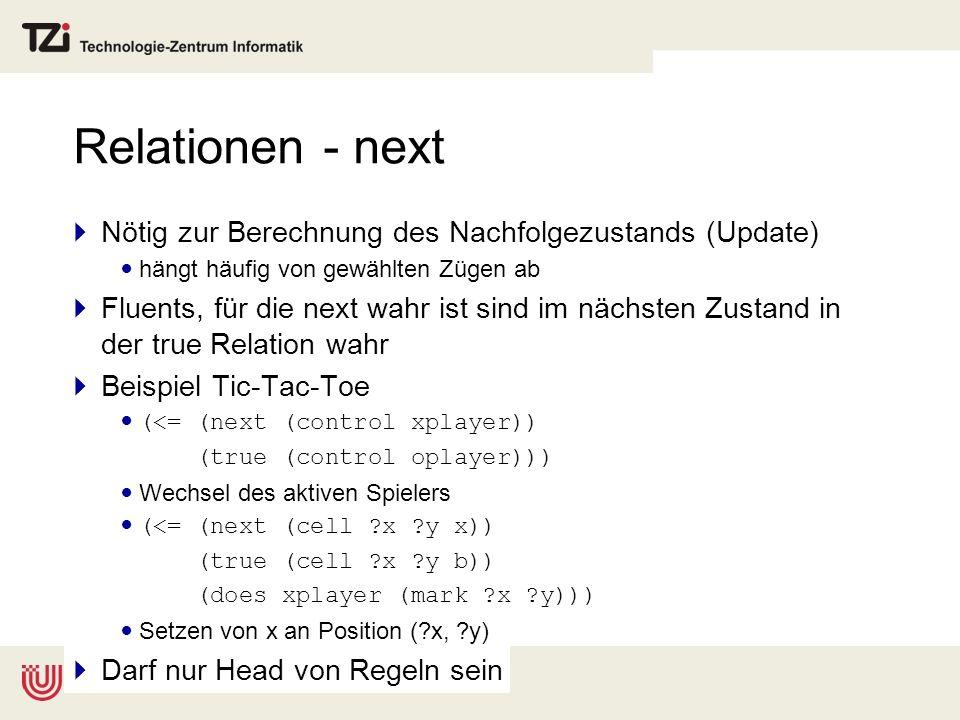 Relationen - next Nötig zur Berechnung des Nachfolgezustands (Update) hängt häufig von gewählten Zügen ab Fluents, für die next wahr ist sind im nächs