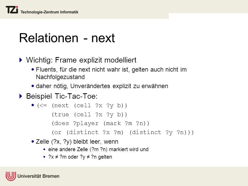 Relationen - next Wichtig: Frame explizit modelliert Fluents, für die next nicht wahr ist, gelten auch nicht im Nachfolgezustand daher nötig, Unveränd
