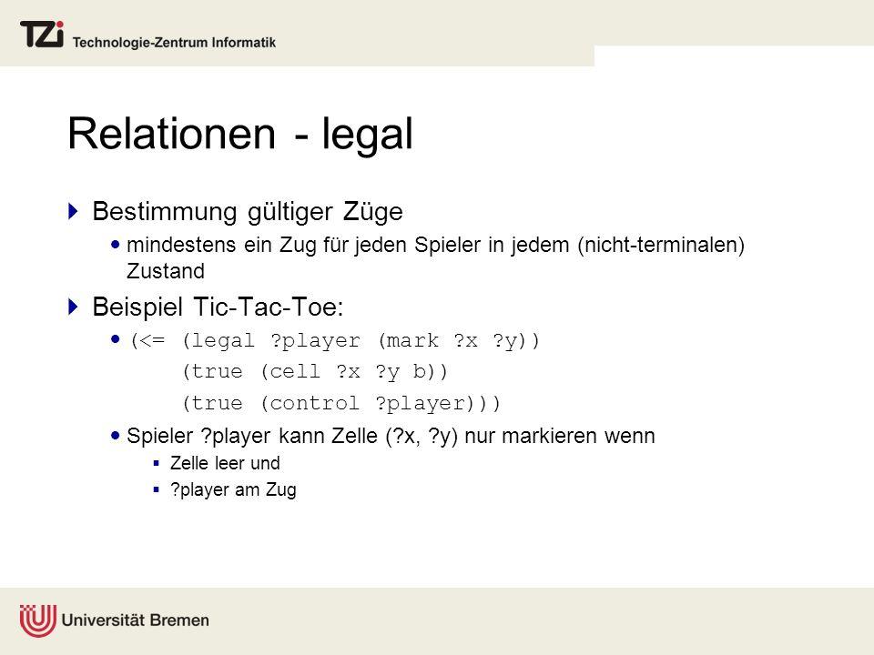 Relationen - legal Bestimmung gültiger Züge mindestens ein Zug für jeden Spieler in jedem (nicht-terminalen) Zustand Beispiel Tic-Tac-Toe: (<= (legal