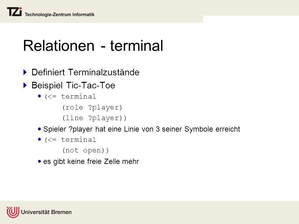 Relationen - terminal Definiert Terminalzustände Beispiel Tic-Tac-Toe (<= terminal (role ?player) (line ?player)) Spieler ?player hat eine Linie von 3