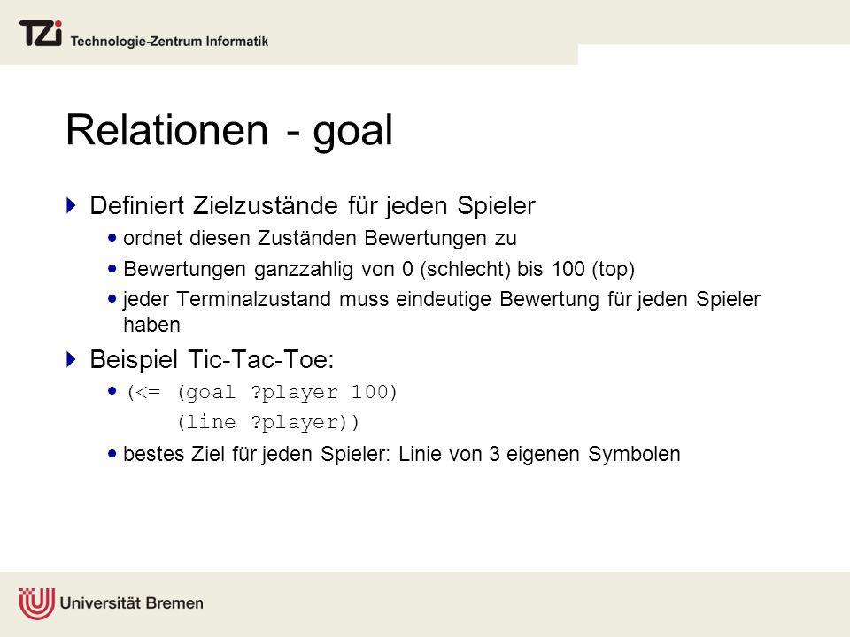 Relationen - goal Definiert Zielzustände für jeden Spieler ordnet diesen Zuständen Bewertungen zu Bewertungen ganzzahlig von 0 (schlecht) bis 100 (top