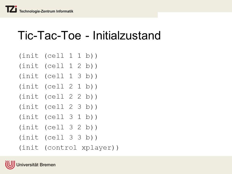Tic-Tac-Toe - Initialzustand (init (cell 1 1 b)) (init (cell 1 2 b)) (init (cell 1 3 b)) (init (cell 2 1 b)) (init (cell 2 2 b)) (init (cell 2 3 b)) (