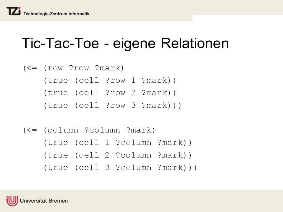 Tic-Tac-Toe - eigene Relationen (<= (row ?row ?mark) (true (cell ?row 1 ?mark)) (true (cell ?row 2 ?mark)) (true (cell ?row 3 ?mark))) (<= (column ?co
