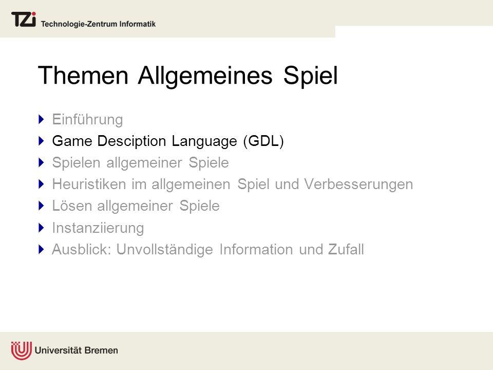 Themen Allgemeines Spiel Einführung Game Desciption Language (GDL) Spielen allgemeiner Spiele Heuristiken im allgemeinen Spiel und Verbesserungen Löse