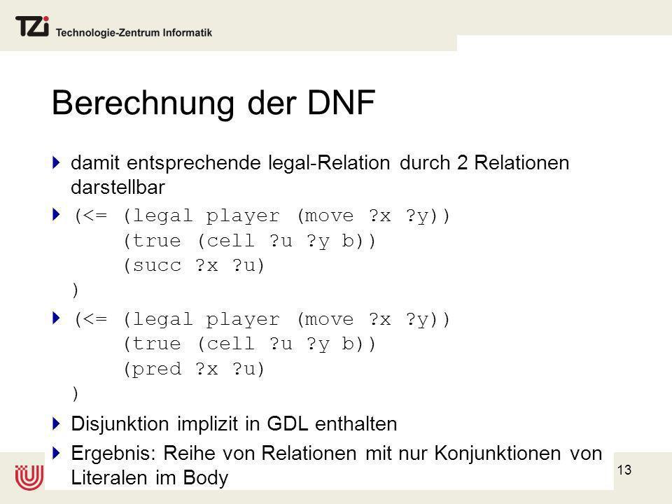 13 Berechnung der DNF damit entsprechende legal-Relation durch 2 Relationen darstellbar (<= (legal player (move ?x ?y)) (true (cell ?u ?y b)) (succ ?x