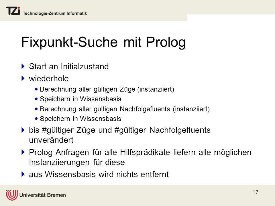 17 Fixpunkt-Suche mit Prolog Start an Initialzustand wiederhole Berechnung aller gültigen Züge (instanziiert) Speichern in Wissensbasis Berechnung all
