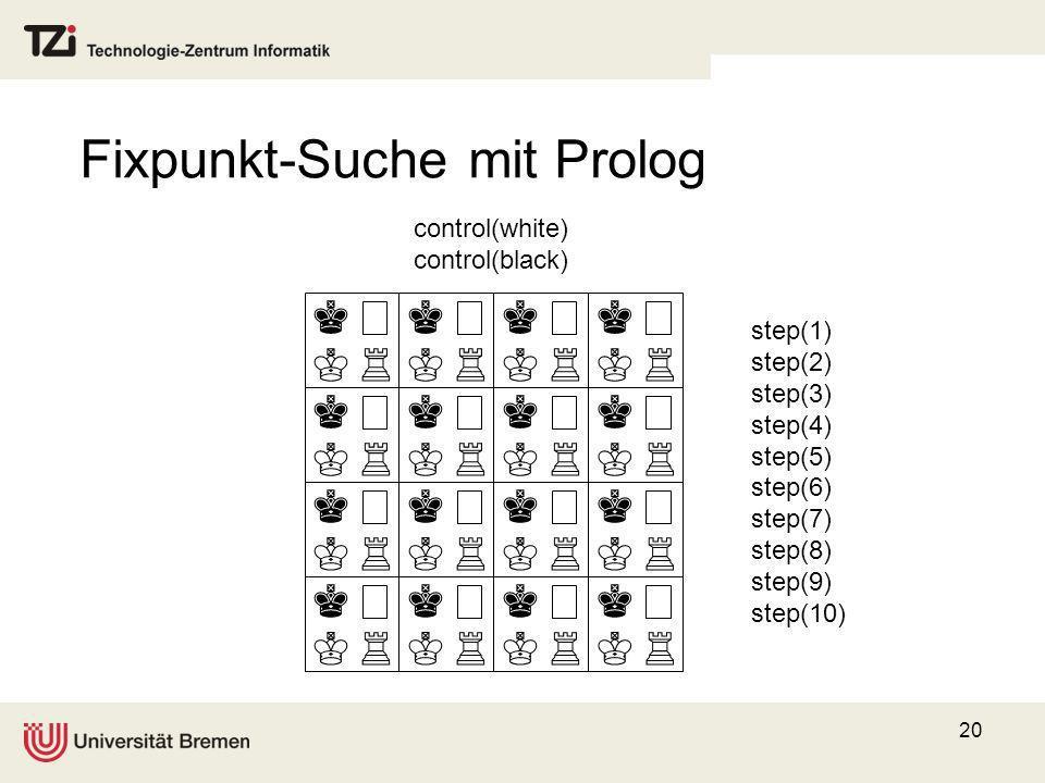 20 control(white) control(black) step(1) step(2) step(3) step(4) step(5) step(6) step(7) step(8) step(9) step(10) Fixpunkt-Suche mit Prolog