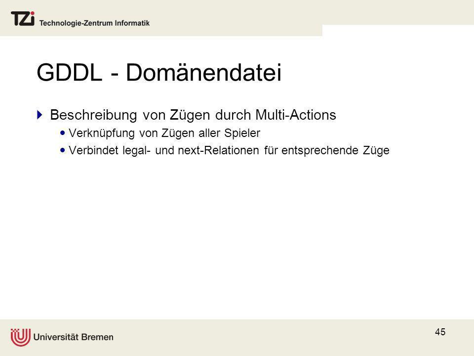 45 GDDL - Domänendatei Beschreibung von Zügen durch Multi-Actions Verknüpfung von Zügen aller Spieler Verbindet legal- und next-Relationen für entspre