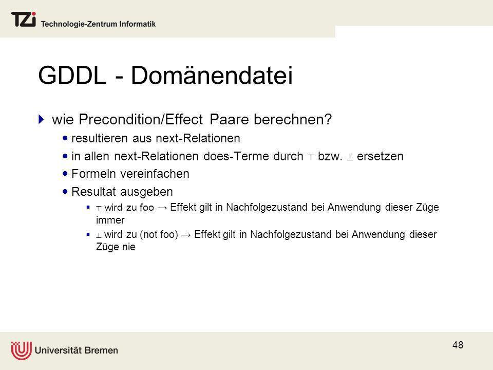 48 GDDL - Domänendatei wie Precondition/Effect Paare berechnen? resultieren aus next-Relationen in allen next-Relationen does-Terme durch bzw. ersetze