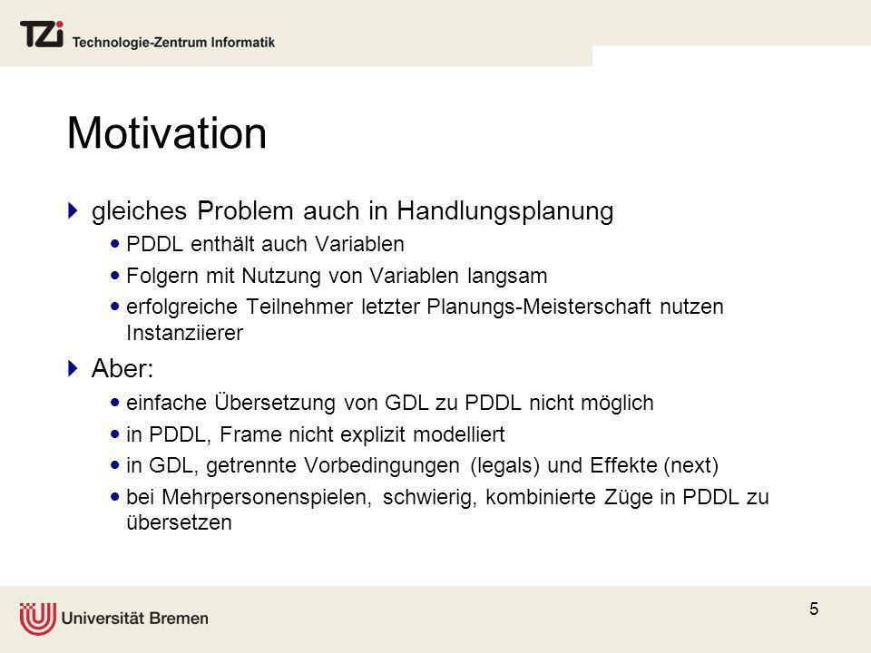 5 Motivation gleiches Problem auch in Handlungsplanung PDDL enthält auch Variablen Folgern mit Nutzung von Variablen langsam erfolgreiche Teilnehmer l