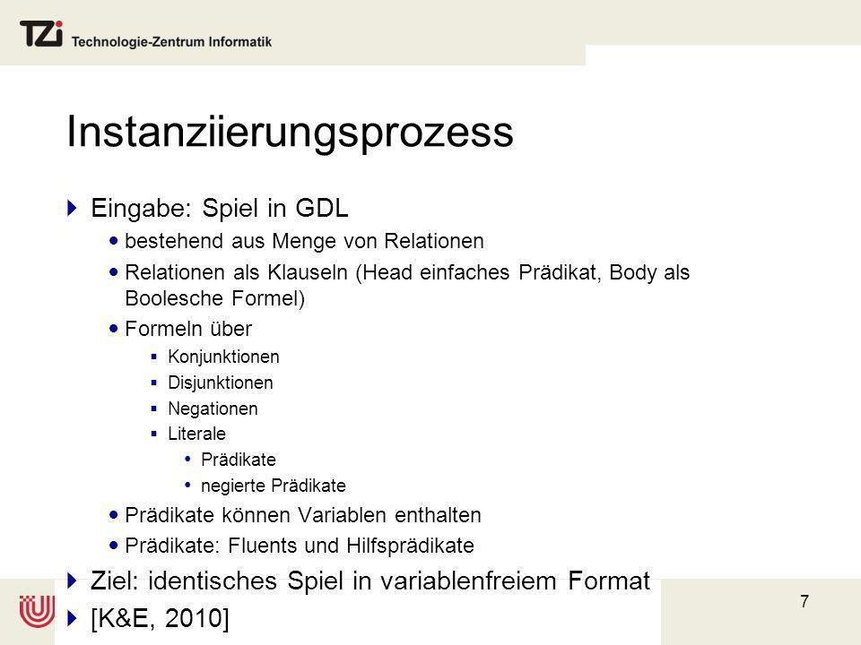 7 Instanziierungsprozess Eingabe: Spiel in GDL bestehend aus Menge von Relationen Relationen als Klauseln (Head einfaches Prädikat, Body als Boolesche