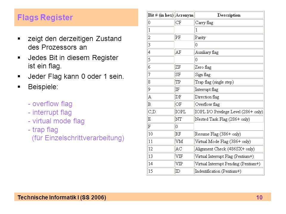 Technische Informatik I (SS 2006) 10 Flags Register zeigt den derzeitigen Zustand des Prozessors an Jedes Bit in diesem Register ist ein flag. Jeder F