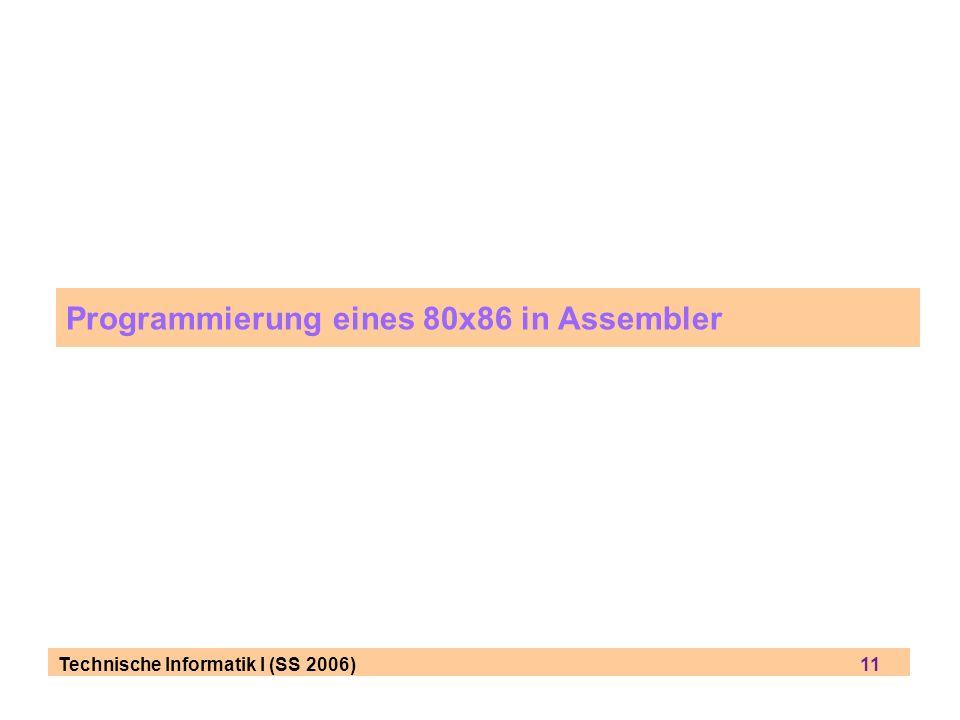 Technische Informatik I (SS 2006) 11 Programmierung eines 80x86 in Assembler