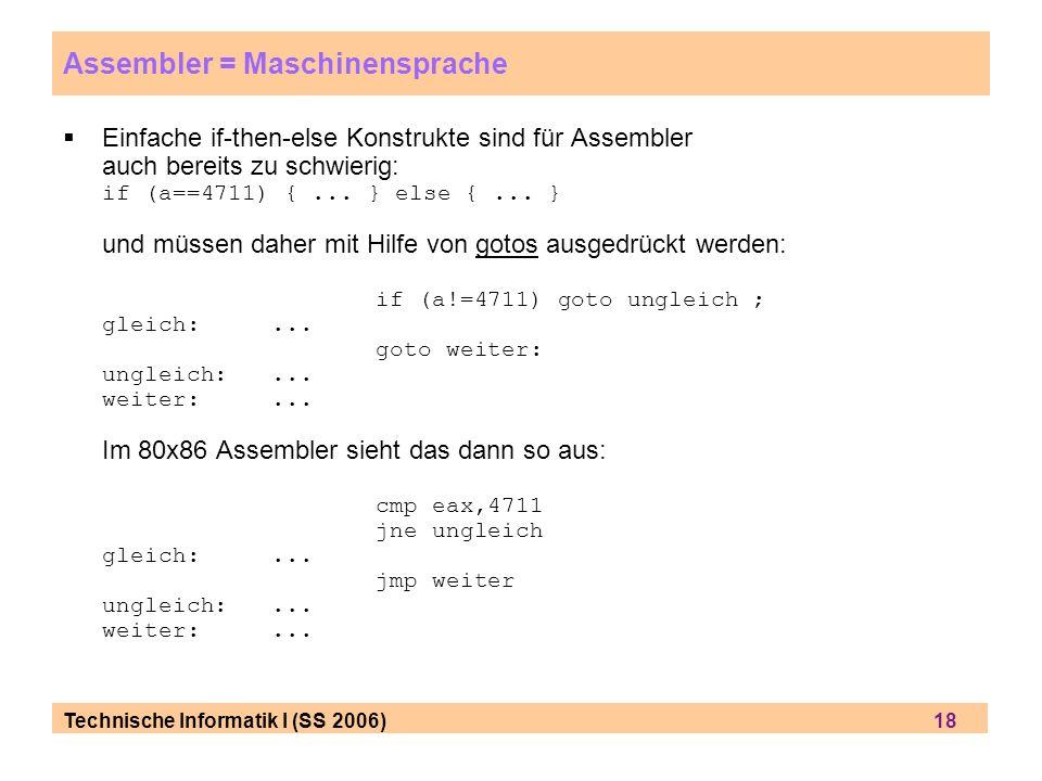 Technische Informatik I (SS 2006) 18 Assembler = Maschinensprache Einfache if-then-else Konstrukte sind für Assembler auch bereits zu schwierig: if (a