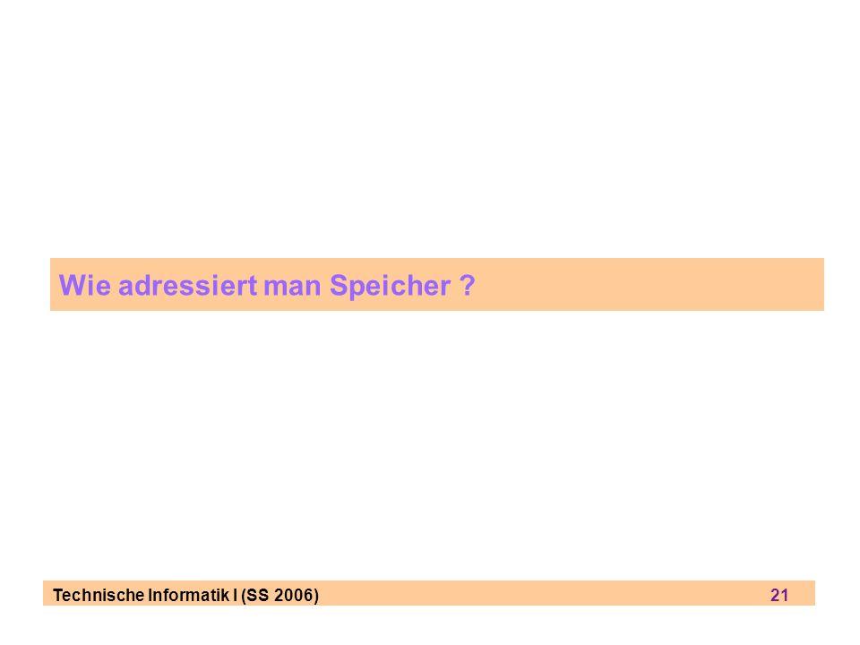 Technische Informatik I (SS 2006) 21 Wie adressiert man Speicher ?