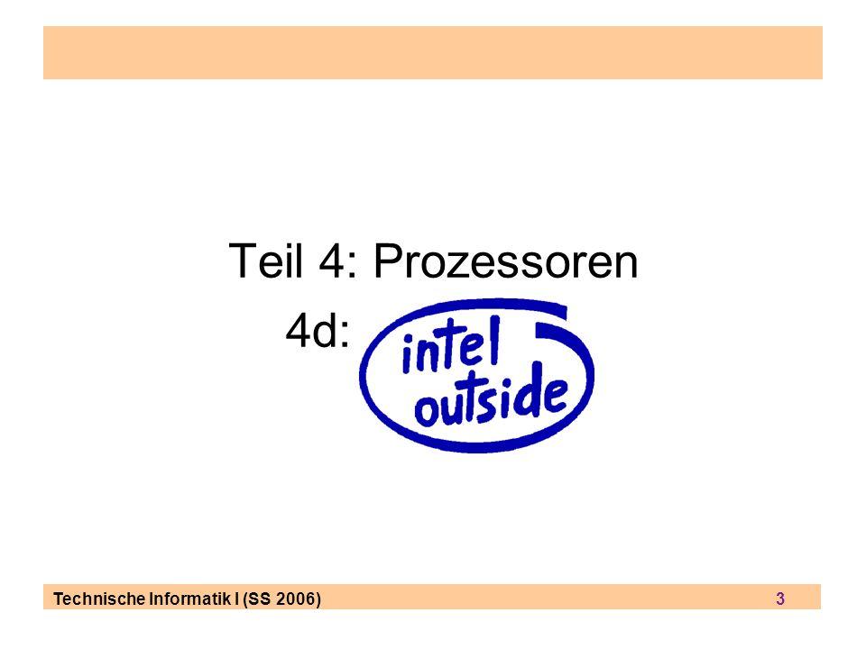 Technische Informatik I (SS 2006) 14 Op-Code Beispiel #2: JMP ändert den Fluß des ausgeführten Codes durch Überschreiben des instruction pointer Register JMP 0x89AB ; (ohne Angabe eines Registers) lädt das IP Register mit dem neuen Wert 0x89AB dies ist der indirekte Weg, einen Befehl auszuführen (weil sich IP Register nicht direkt ansprechen läßt) JMP 0xACDC:0x5578 ; lädt das CS Register mit 0xACDC und das IP Register mit 0x5578 (das sind quasi 2 Operationen in einem Takt-Zyklus) JMP AX ; springt zu dem Wert, der in Register AX gespeichert ist