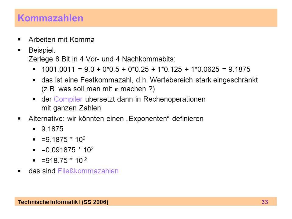 Technische Informatik I (SS 2006) 33 Kommazahlen Arbeiten mit Komma Beispiel: Zerlege 8 Bit in 4 Vor- und 4 Nachkommabits: 1001.0011 = 9.0 + 0*0.5 + 0