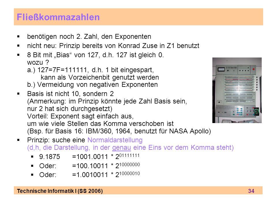 Technische Informatik I (SS 2006) 34 Fließkommazahlen benötigen noch 2. Zahl, den Exponenten nicht neu: Prinzip bereits von Konrad Zuse in Z1 benutzt