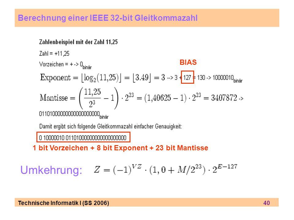 Technische Informatik I (SS 2006) 40 Umkehrung: Berechnung einer IEEE 32-bit Gleitkommazahl BIAS 1 bit Vorzeichen + 8 bit Exponent + 23 bit Mantisse