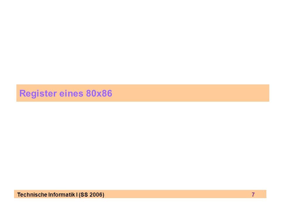 Technische Informatik I (SS 2006) 8 8086, generelle Register im 8086 nur 16-bit general registers data registers AXaccumulator = Teil der ALU (siehe Toy Model) = Ziel von Rechenoperationen BXbase register = Anfangsadresse einer Datenstruktur CXcounter register = für Schleifenprogrammierung DXdata register = Datenregister für einen Operanden address registers SIsource register DIdestination register SPstack pointer register BPstack base pointer register aufgeteilt in 2x8 bit (Bsp.