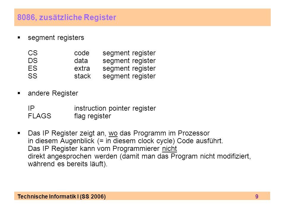 Technische Informatik I (SS 2006) 9 8086, zusätzliche Register segment registers CScodesegment register DSdatasegment register ESextrasegment register