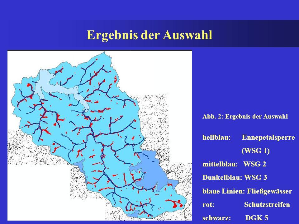 4.1 Vorgehensweise (Betroffenheitsanalyse) Zunächst müssen die für die Untersuchung wichtigen Fließgewässer selektiert werden. Dies geschieht durch ei