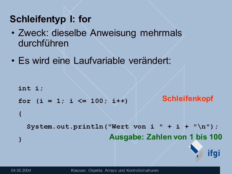 04.05.2004Klassen, Objekte, Arrays und Kontrollstrukturen Schleifentyp I: for Zweck: dieselbe Anweisung mehrmals durchführen Es wird eine Laufvariable