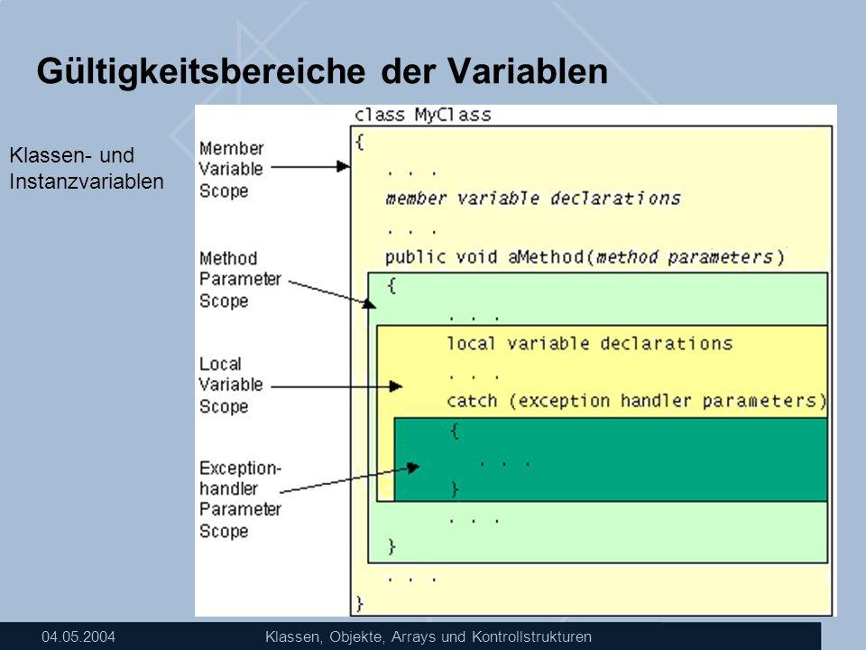 04.05.2004Klassen, Objekte, Arrays und Kontrollstrukturen Gültigkeitsbereiche der Variablen Klassen- und Instanzvariablen