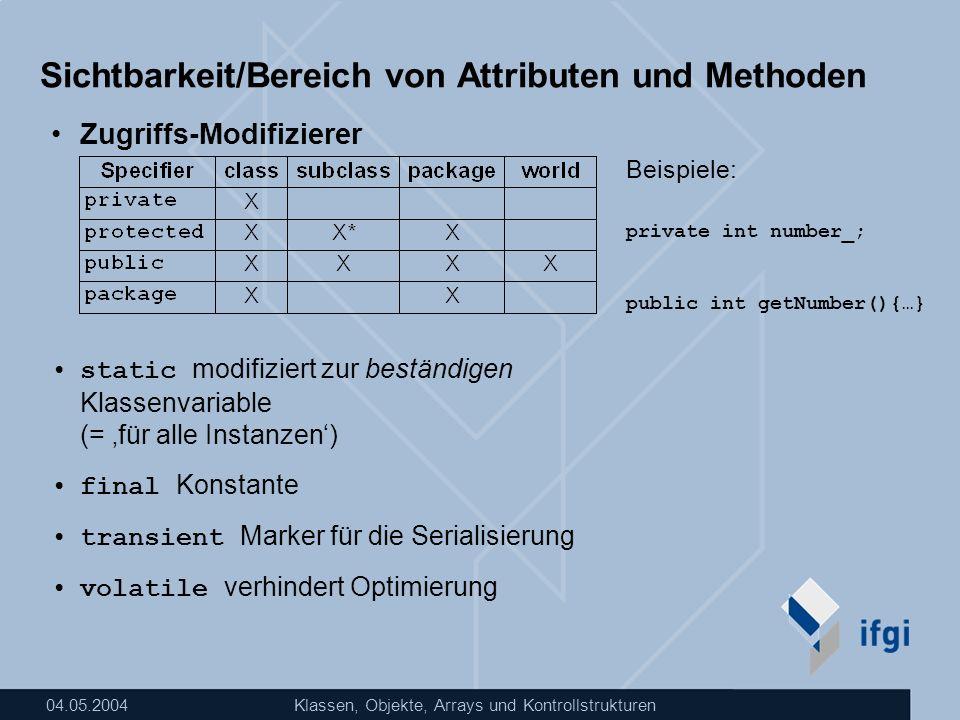 04.05.2004Klassen, Objekte, Arrays und Kontrollstrukturen Sichtbarkeit/Bereich von Attributen und Methoden Zugriffs-Modifizierer static modifiziert zu