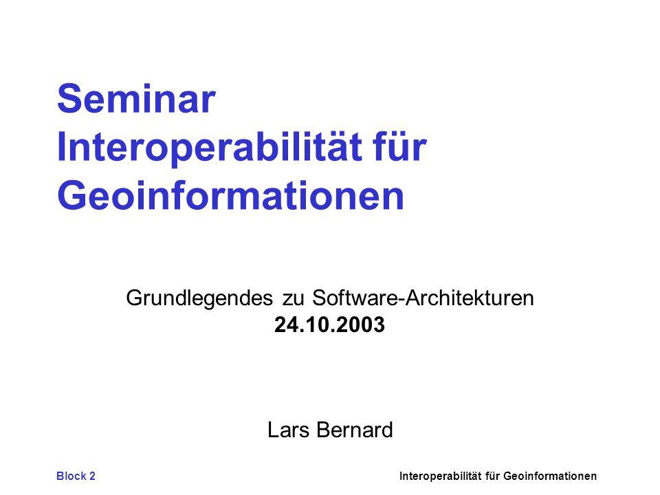 Block 2Interoperabilität für Geoinformationen Seminar Interoperabilität für Geoinformationen Grundlegendes zu Software-Architekturen 24.10.2003 Lars Bernard