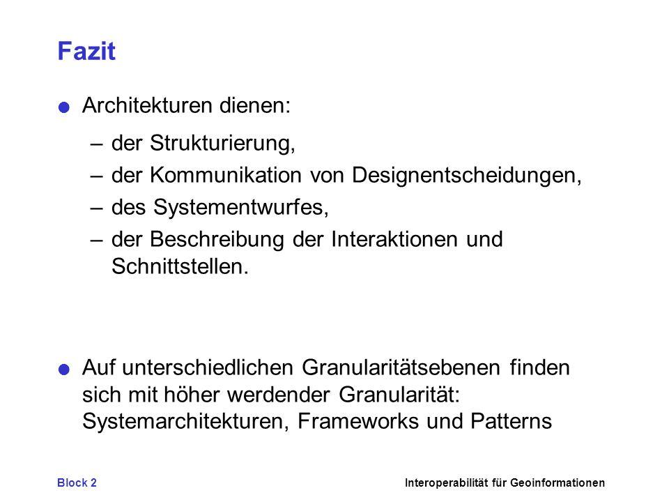 Block 2Interoperabilität für Geoinformationen Fazit Architekturen dienen: –der Strukturierung, –der Kommunikation von Designentscheidungen, –des Systementwurfes, –der Beschreibung der Interaktionen und Schnittstellen.
