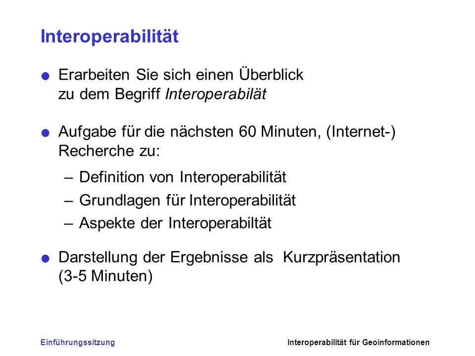 EinführungssitzungInteroperabilität für Geoinformationen Interoperabilität Erarbeiten Sie sich einen Überblick zu dem Begriff Interoperabilät Aufgabe