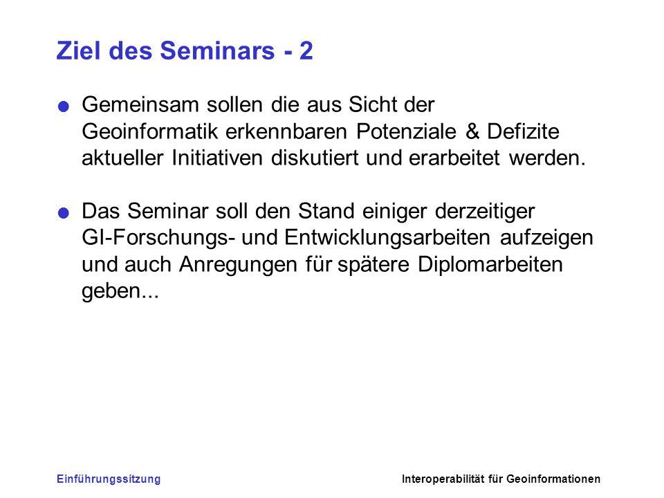 EinführungssitzungInteroperabilität für Geoinformationen Ziel des Seminars - 3 Alle Teilnehmer sollen lernen: –sich ein Thema der GI zu erarbeiten Literaturrecherche Projektarbeit –und es in 1.
