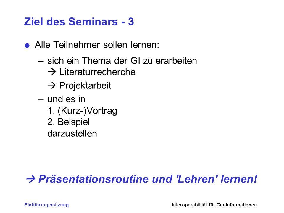 EinführungssitzungInteroperabilität für Geoinformationen Ziel des Seminars - 3 Alle Teilnehmer sollen lernen: –sich ein Thema der GI zu erarbeiten Lit