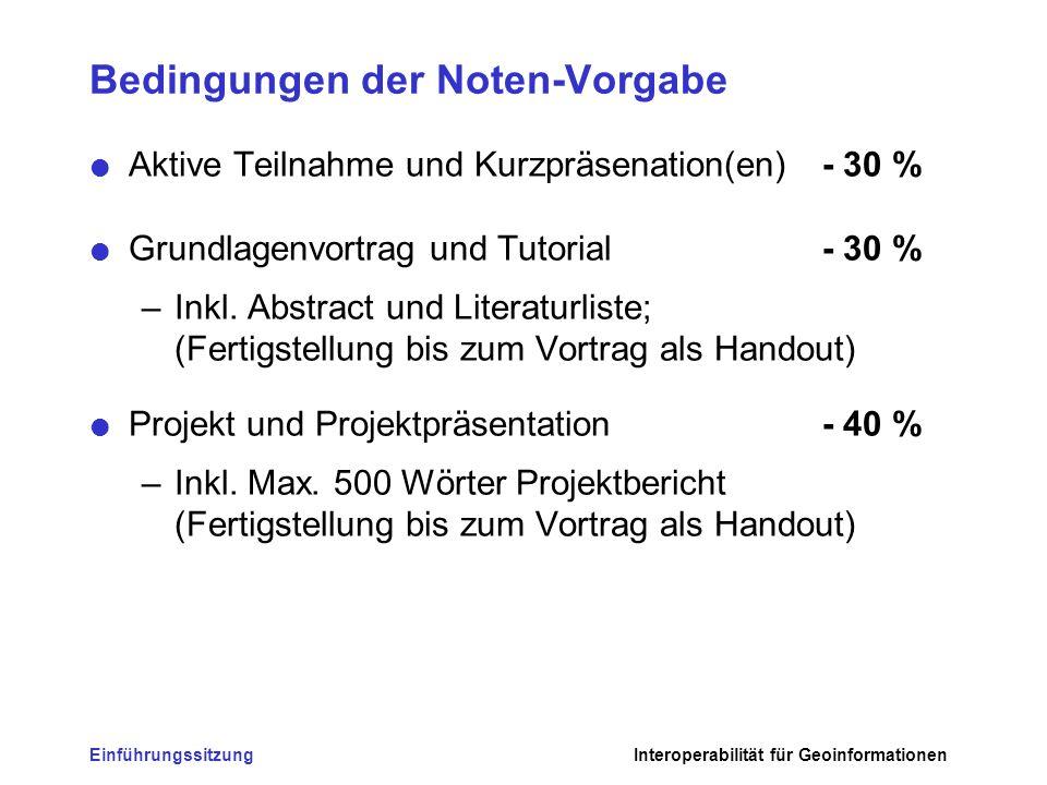 EinführungssitzungInteroperabilität für Geoinformationen Bedingungen der Noten-Vorgabe Aktive Teilnahme und Kurzpräsenation(en) - 30 % Grundlagenvortr