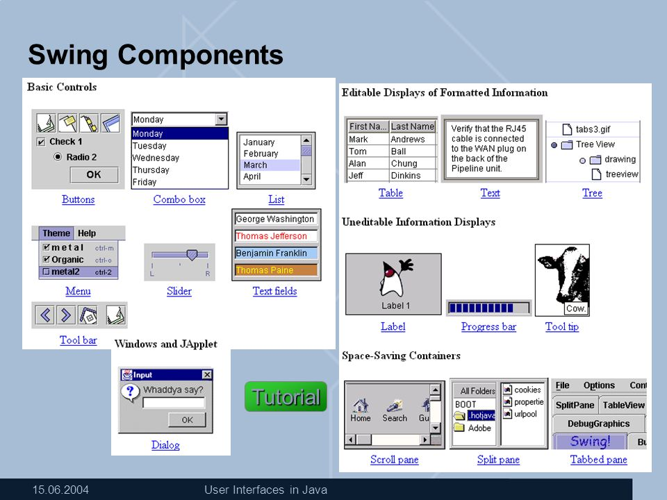 15.06.2004User Interfaces in Java Beispiel für eine GUI mit Swing import … class GISFrame extends JFrame { GISFrame(String s) { super(s); // get Container Container contentPane = getContentPane(); // use a layout contentPane.setLayout (new GridLayout(0,1)); // create & add atomic component: JButton button1 = new JButton( click1 ); contentPane.add(button1); // Menu is set directly to the frame: JMenuBar mBar = new JMenuBar(); JMenu fileMenu = new JMenu( File ); JMenuItem itemNew = new JMenuItem( New ); fileMenu.add(itemNew); mBar.add(fileMenu); setJMenuBar(mBar); }