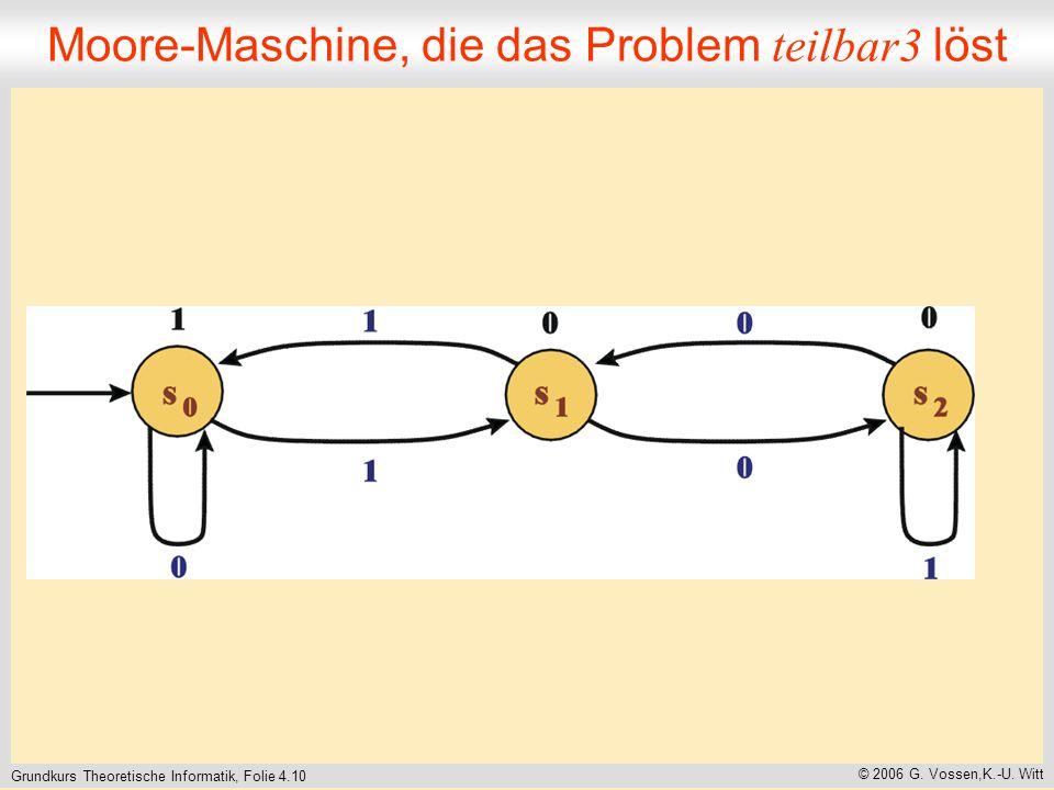 Grundkurs Theoretische Informatik, Folie 4.10 © 2006 G. Vossen,K.-U. Witt Moore-Maschine, die das Problem teilbar3 löst