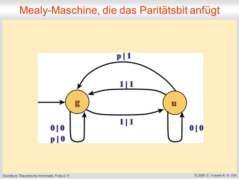 Grundkurs Theoretische Informatik, Folie 4.11 © 2006 G. Vossen,K.-U. Witt Mealy-Maschine, die das Paritätsbit anfügt