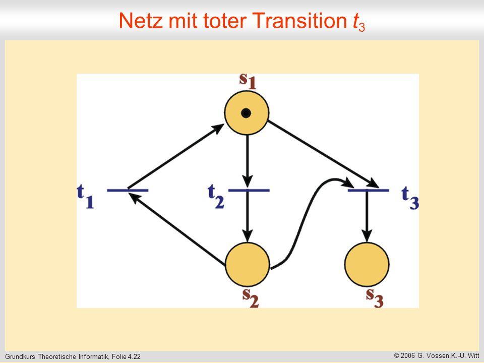 Grundkurs Theoretische Informatik, Folie 4.22 © 2006 G. Vossen,K.-U. Witt Netz mit toter Transition t 3