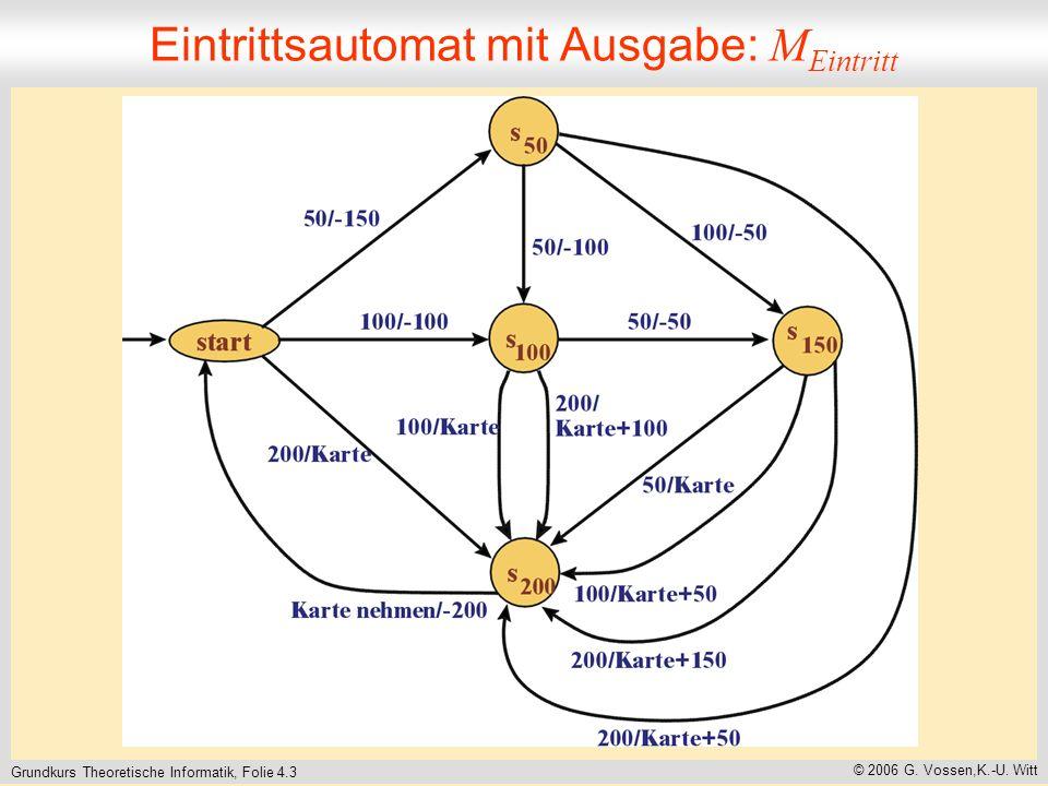 Grundkurs Theoretische Informatik, Folie 4.3 © 2006 G. Vossen,K.-U. Witt Eintrittsautomat mit Ausgabe: M Eintritt