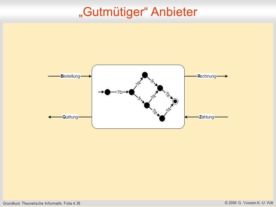 Grundkurs Theoretische Informatik, Folie 4.38 © 2006 G. Vossen,K.-U. Witt Gutmütiger Anbieter B estellung R echnung Z ahlung Q uittung ! r ? z ! q ! q